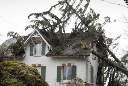 10.02.2020, Schweiz, Lutry: Umgestürzte Bäume haben das Dach eines Hauses beschädigt. Das Orkantief «Ciara» hat am Abend des 09.02.2020 die Schweiz erreicht. Foto: Laurent Darbellay/KEYSTONE/dpa +++ dpa-Bildfunk +++